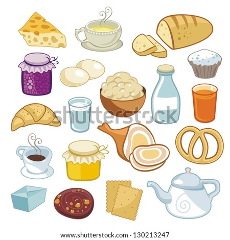 Breakfast set with various food products - stock photo