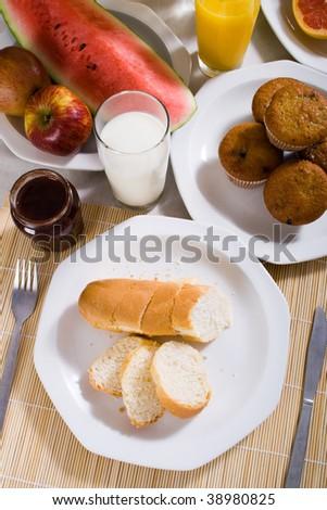 breakfast table - stock photo