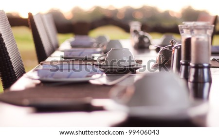 Breakfast Table with a Coffee Cup - stock photo