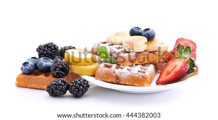 Breakfast.Waffles with berries - stock photo