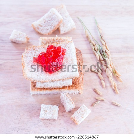 breakfast with bread and jam - stock photo