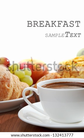 breakfast with coffee - stock photo