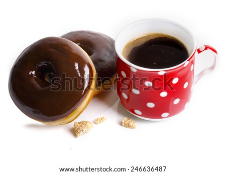 Breakfast with coffee and donuts - stock photo