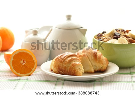 Breakfast with coffee, fresh croissants  on white  background, selective focus - stock photo