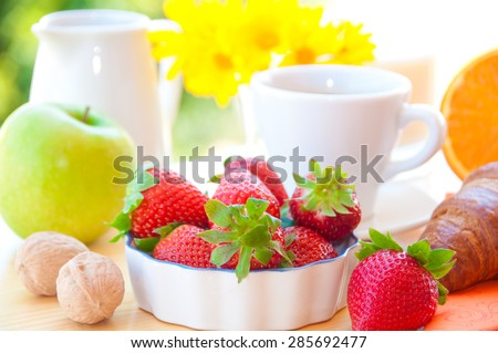 Breakfast with coffee, fruits - stock photo