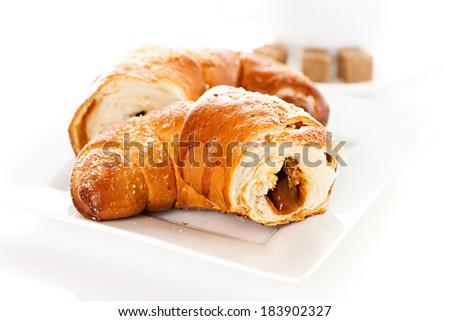 breakfast with croissants - stock photo