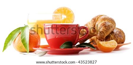 Breakfast with croissants, coffee and orange juice - stock photo