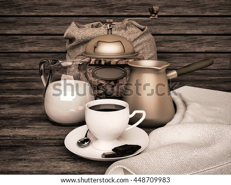 Breakfast with delicious coffee, cream and chocolate on a wooden table. 3D illustration  - stock photo