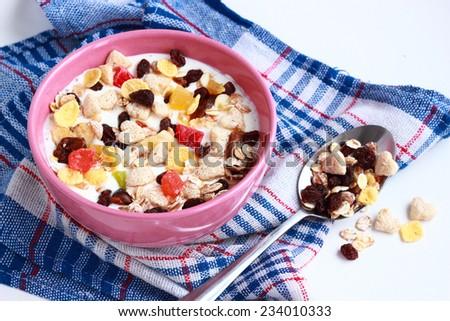 Breakfast with fresh Muesli cereals - stock photo
