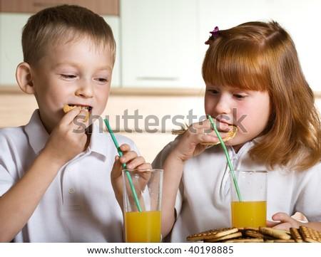 Breakfast with juice - stock photo