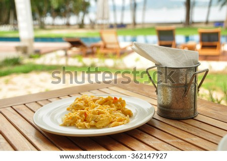 breakfast with scrambled eggs - stock photo
