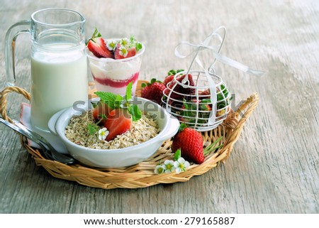 Breakfast with strawberries, organic food - stock photo
