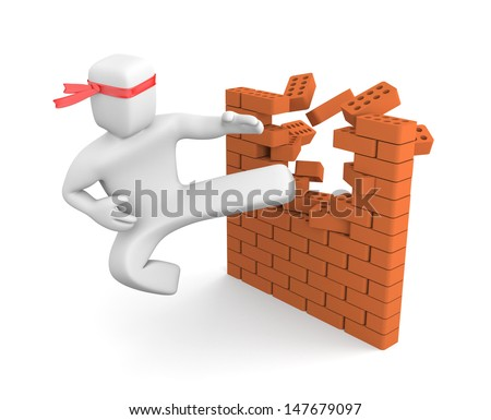 Breaking barriers - stock photo