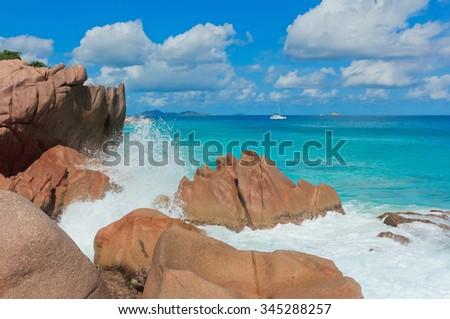 Breaking Big Waves Under the Sun  - stock photo