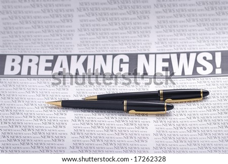 breaking news headline.  newspaper page. information theme - stock photo