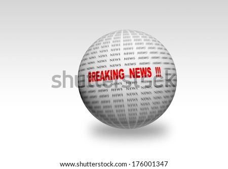Breaking News in red  focused in center on 3d  sphere - stock photo