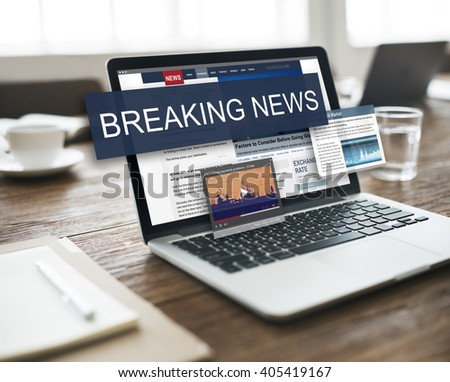 Breaking News Media Announcement Social Concept - stock photo