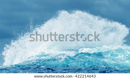 Breaking ocean wave abstract background concept panoramic view - stock photo