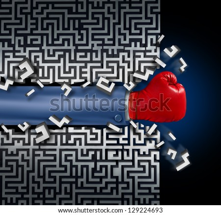 Breaking out leadership and business vision with strategy in corporate challenges and obstacles in a maze with a business man arm with a red boxing glove clearing a path in a labyrinth for answers. - stock photo