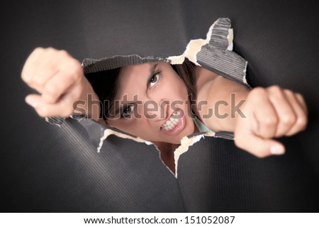 breaking though - stock photo