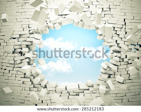 breaking wall and blue sky with clouds - stock photo