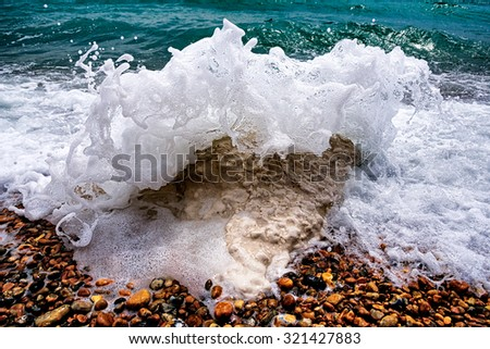 Breaking Wave at Dover - Samphire Hoe near Dover, Kent, Uk - stock photo