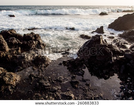 Breaking waves. Atlantic Ocean. Tenerife, Canary Islands. Spain - stock photo