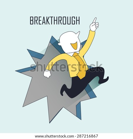 breakthrough concept: a businessman jumping out from the wall in line style - stock photo