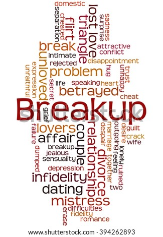 Breakup, word cloud concept on white background.  - stock photo