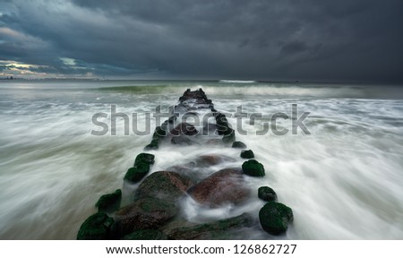 breakwater - stock photo