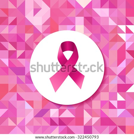 Breast cancer awareness campaign pink ribbon badge over seamless triangle retro hipster tiled pattern. - stock photo