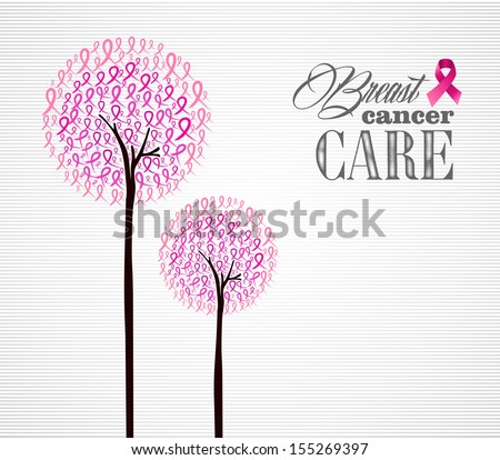 Breast cancer awareness conceptual forest with pink ribbons. - stock photo