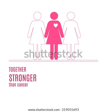 Breast Cancer Awareness illustration. Hand drawn elements and inspirational quotes on white background with place for your text. Thin line symbols. Raster version. - stock photo