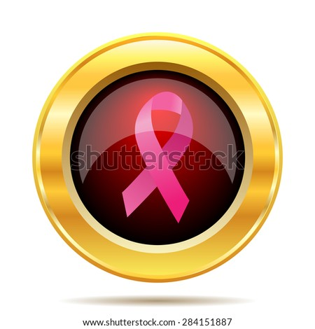 Breast cancer ribbon icon. Internet button on white background.  - stock photo