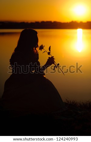 breathes the scent of a flower girl - stock photo