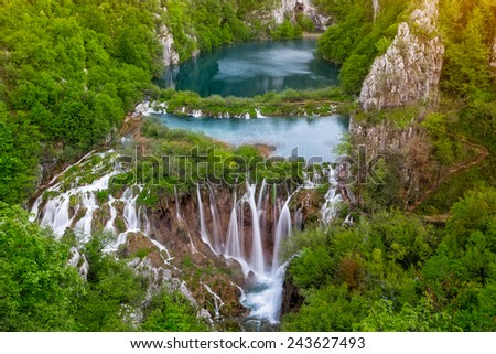 Breathtaking aerial view of waterfalls in the Plitvice Lakes National Park, Croatia - stock photo