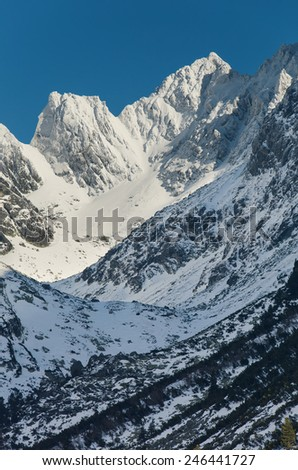 Breathtaking view of snowy mountains in the Tatra mountains - stock photo