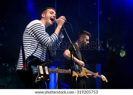 BREDA, THE NETHERLANDS - SEPTEMBER 20, 2015 - Ben Stratford and Harry Roche of As ELephants Are perform live on stage at Breda Barst festival - stock photo