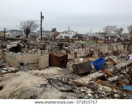 BREEZY POINT, QUEENS, NY-December 2, 2012: Video clip of wreckage and debris from homes destroyed by devastating fire during Hurricane Sandy. 111 homes were destroyed in the out-of-control blaze. - stock photo