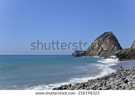 Breezy waves at Thornhill beach near Point Mugu, Ventura, CA - stock photo
