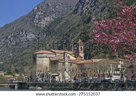 Breil-sur-Roya is located in the Maritime Alps on the River Roya - stock photo