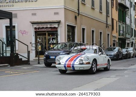 BRESCIA, ITALY - MARCH 21, 2015: Retro cars on the streets of  Brescia.  - stock photo