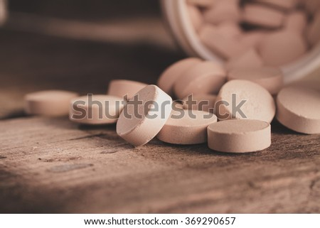 Brewer's yeast tablets. Dietary supplement. - stock photo