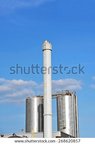 Brewery beer processing and storage silos tower - stock photo