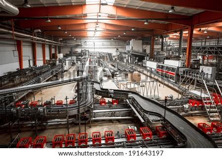 brewery interior, equipments - stock photo
