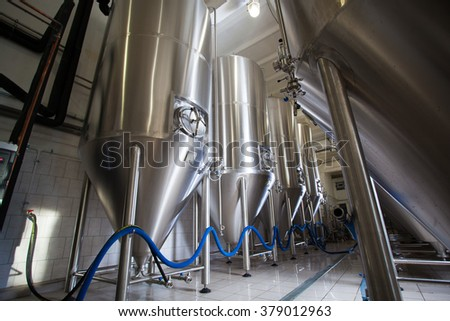 Brewing production vats - stock photo