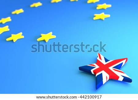 BREXIT - creative 3D illustration for newspaper articles and similar purposes.  - stock photo