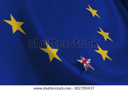 Brexit : Flag of EU with small flag of UK. A symbol of leaving after the crucial referendum that could alter the union's basic principles and re-impose restrictions on the free movement of people. - stock photo