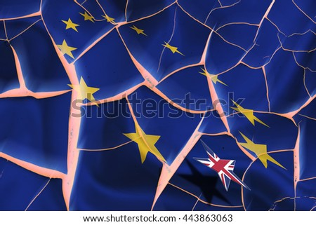 "Brexit : Flag of EU with 12 yellow stars on a cracked wall and star flag of United Kingdom floating above. A symbol of the consequences after UK referendum ""vote leave"" that could tear Europe apart. - stock photo"