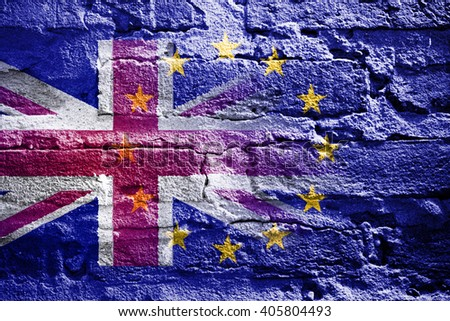 Brexit: Flags of the United Kingdom and the European Union to illustrate possible exit of Great Britain from the EU - stock photo